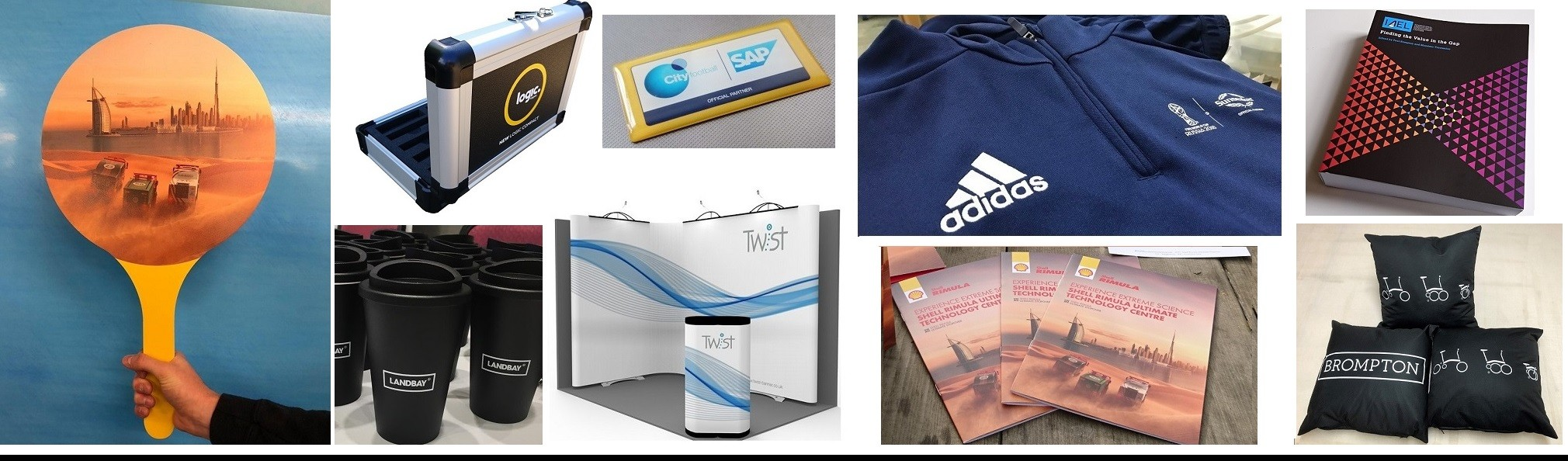 Slideshow Brochures Signs Bags Clothing Coffee Cups